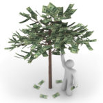 A person stands next to a money tree picking its fruit