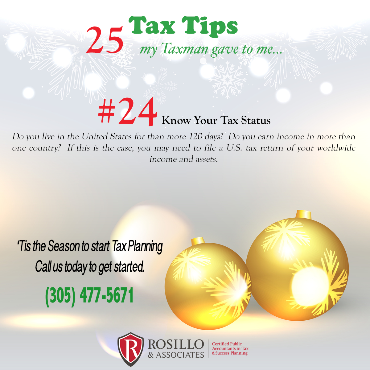 Tax Tip #24 My Tax Man Gave to Me…